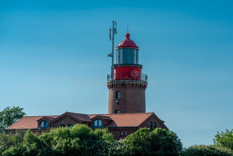 Φάρος Buk σε Bastorf στη γερμανική ακτή της θάλασσας της Βαλτικής στοκ εικόνα