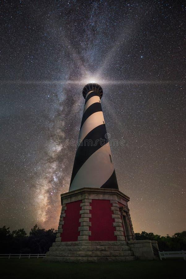 Φάρος Hatteras ακρωτηρίων κάτω από τα αστέρια στοκ εικόνες με δικαίωμα ελεύθερης χρήσης