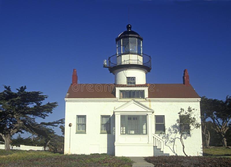 Φάρος Pinos σημείου στο ειρηνικό άλσος, Bay Area Monterey, ασβέστιο στοκ εικόνα