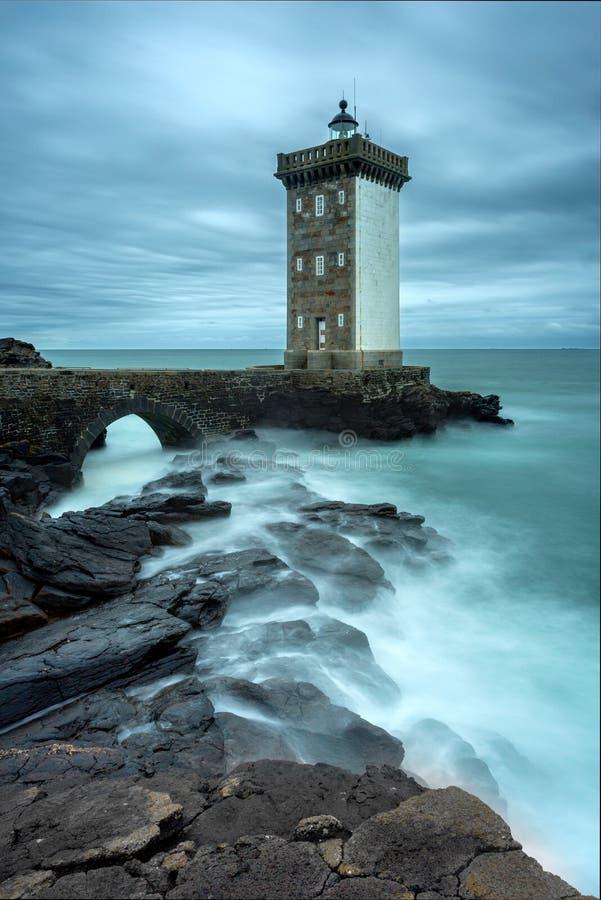 Φάρος Pointe de Kermovan σε LE Conquet, Βρετάνη, Γαλλία στοκ φωτογραφίες με δικαίωμα ελεύθερης χρήσης
