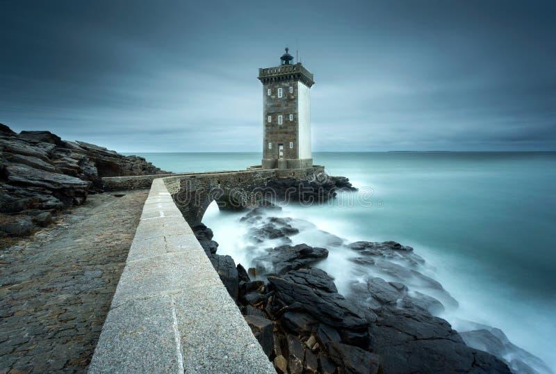 Φάρος Pointe de Kermovan σε LE Conquet, Βρετάνη, Γαλλία στοκ εικόνα με δικαίωμα ελεύθερης χρήσης
