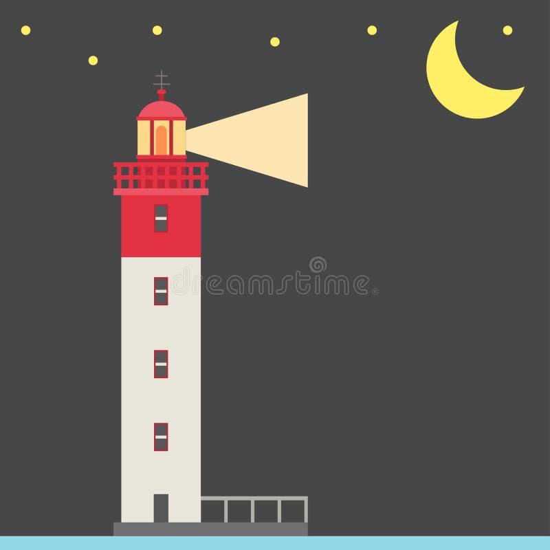 Φάρων νύχτας διανυσματικός πύργος προβολέων υποβάθρου επίπεδος για τη θαλάσσια ναυσιπλοΐας ελαφριά ασφάλεια αναγνωριστικών σημάτω απεικόνιση αποθεμάτων