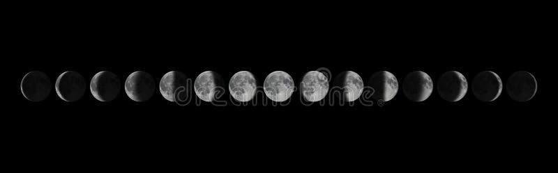 Φάσεις της Σελήνης Σεληνιακός κύκλος στοκ εικόνες