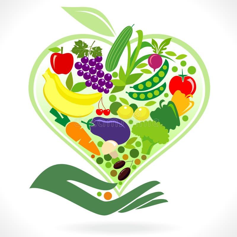 φάτε τα υγιή λαχανικά καρπών διανυσματική απεικόνιση