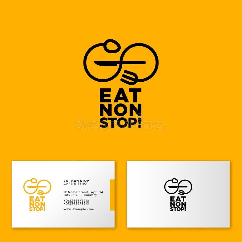 Φάτε το λογότυπο μη στάσεων Έμβλημα καφέδων ή εστιατορίων Κουτάλι και δίκρανο ως άπειρο στο κίτρινο υπόβαθρο ελεύθερη απεικόνιση δικαιώματος