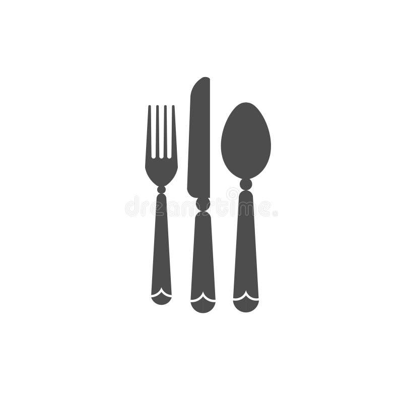 Φάτε το λογότυπο με το μαχαίρι κουταλιών και το μαύρο εικονίδιο δικράνων διανυσματική απεικόνιση