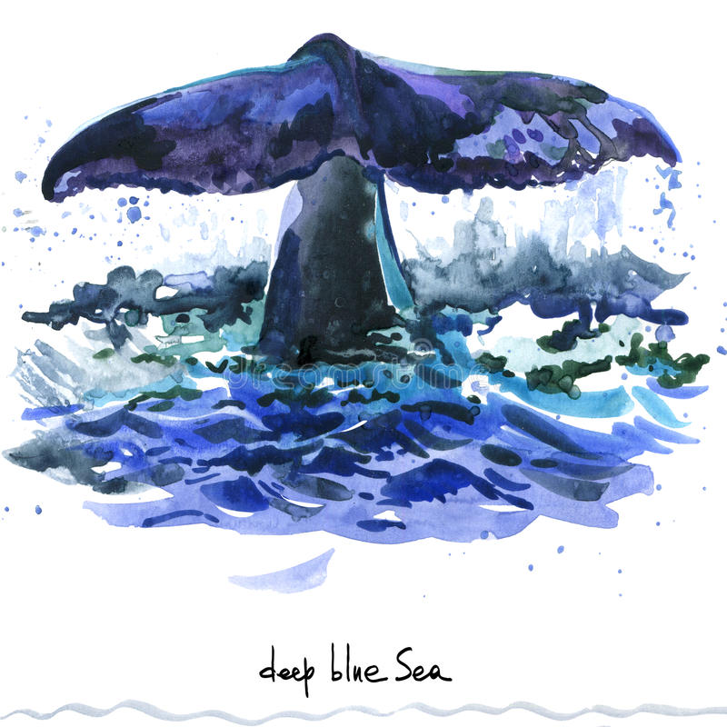 Φάλαινα Απεικόνιση watercolor φαλαινών Humpback απεικόνιση αποθεμάτων