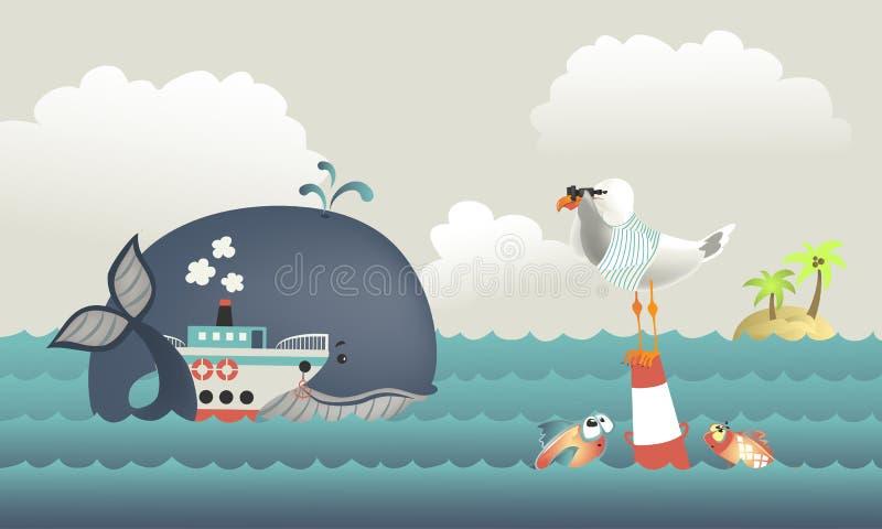 Φάλαινα, ατμόπλοιο και seagull στην μπλε θάλασσα ελεύθερη απεικόνιση δικαιώματος