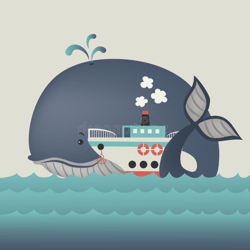 Φάλαινα και ατμόπλοιο στην μπλε θάλασσα διανυσματική απεικόνιση