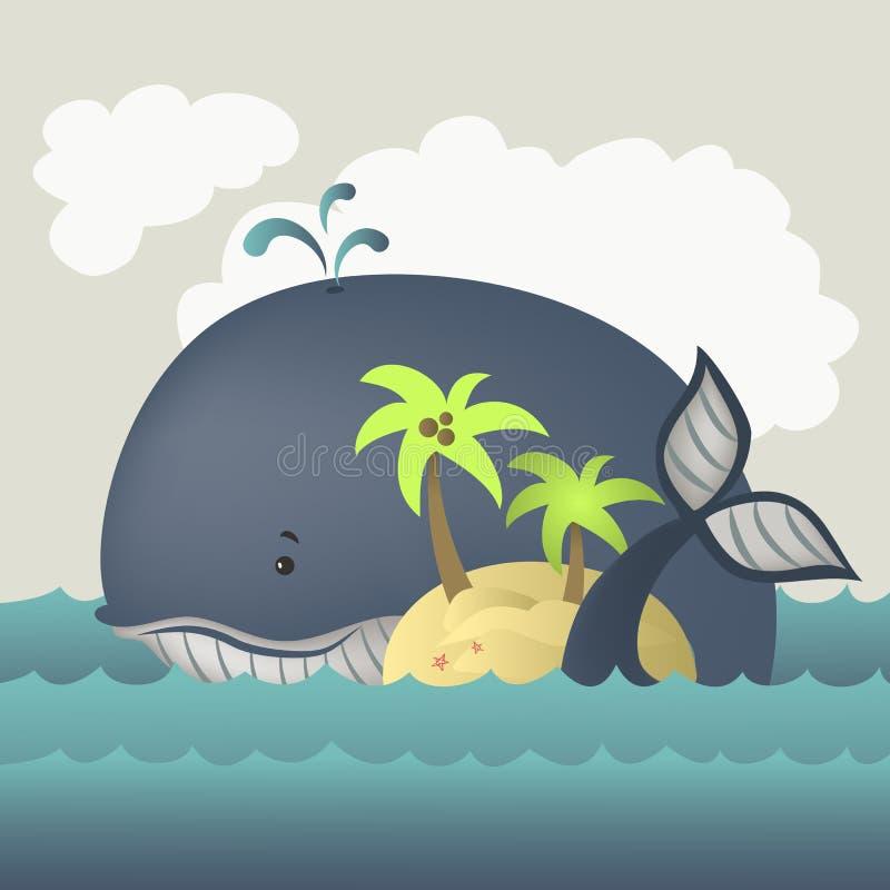 Φάλαινα και νησί στην μπλε θάλασσα διανυσματική απεικόνιση