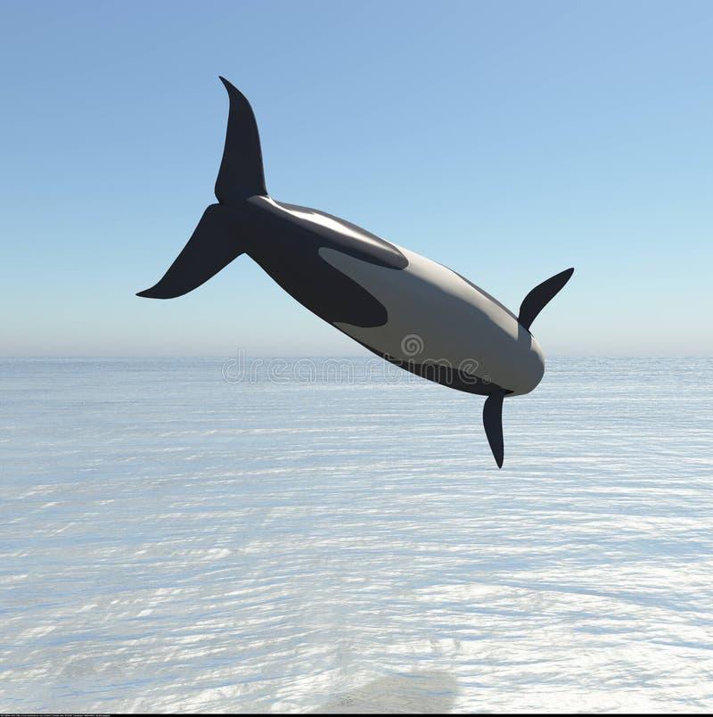 Φάλαινα δολοφόνων που πηδά την τρισδιάστατη απόδοση ελεύθερη απεικόνιση δικαιώματος