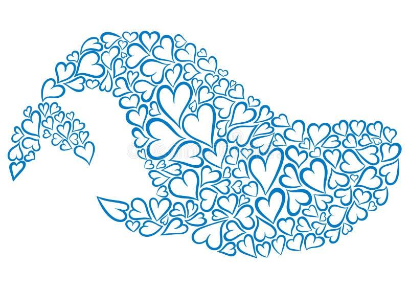 Φάλαινα φιαγμένη από καρδιές ελεύθερη απεικόνιση δικαιώματος