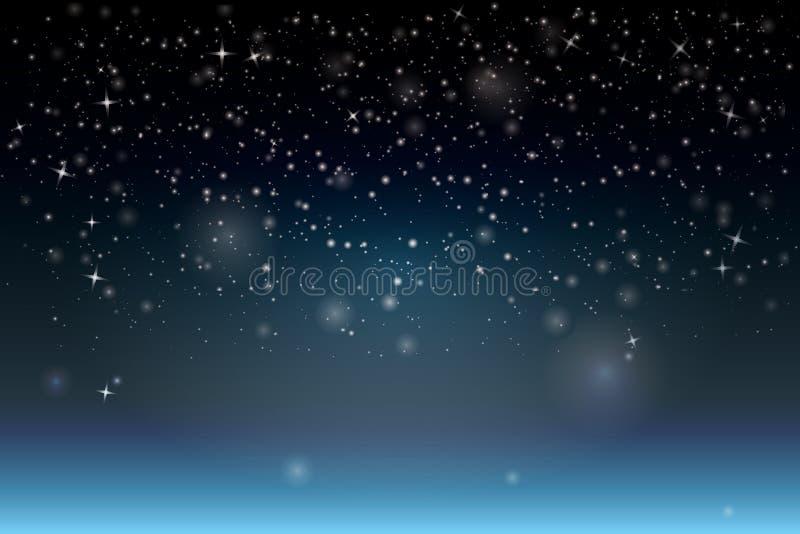 φέρνει το διάνυσμα santa νύχτας απεικόνισης δώρων Claus Χριστουγέννων Αφηρημένο υπόβαθρο σπινθηρίσματος χιονοπτώσεων με το snowf ελεύθερη απεικόνιση δικαιώματος