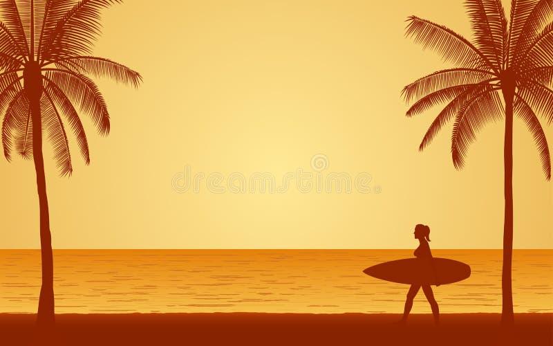 Φέρνοντας ιστιοσανίδα surfer σκιαγραφιών θηλυκή στην παραλία κάτω από το υπόβαθρο ουρανού ηλιοβασιλέματος στο επίπεδο σχέδιο εικο διανυσματική απεικόνιση