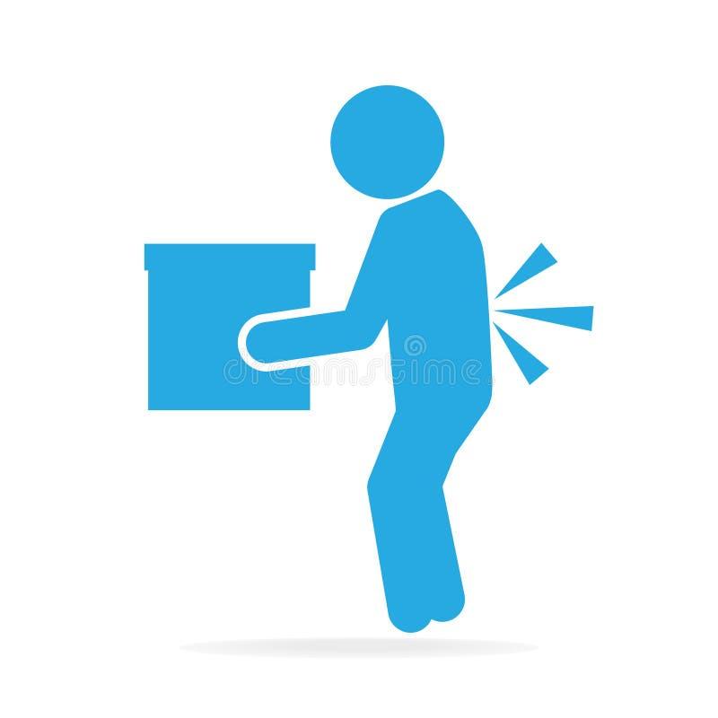 Φέρνοντας κιβώτιο ατόμων και τραυματισμένος του πόνου στην πλάτη διανυσματική απεικόνιση