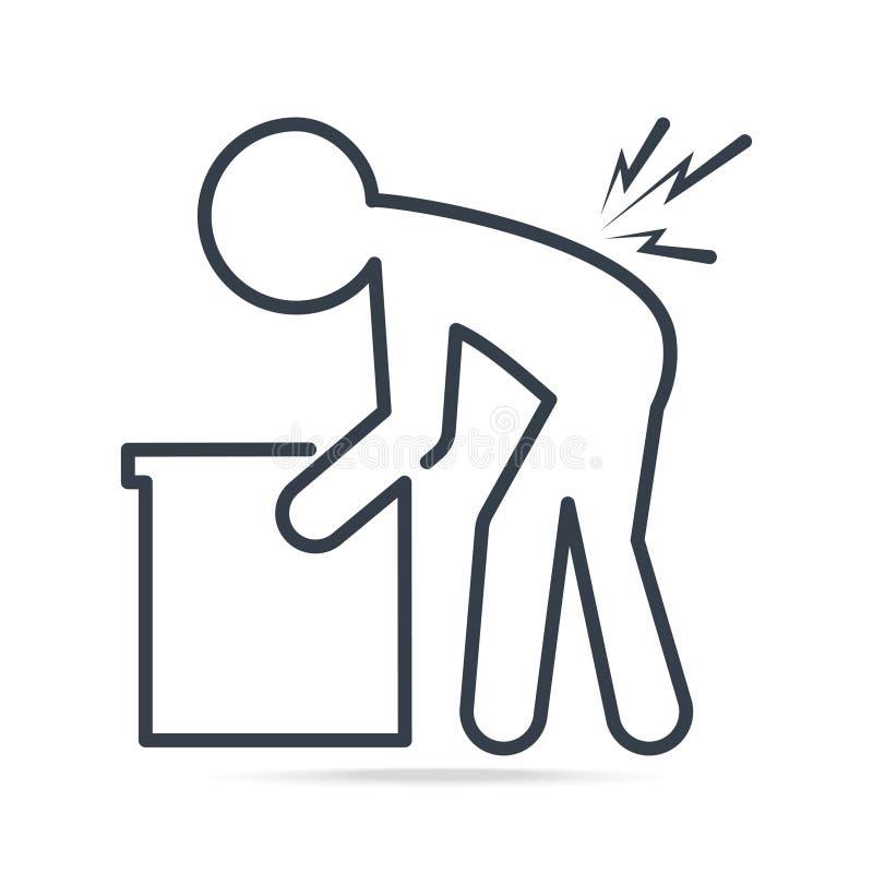 Φέρνοντας κιβώτιο ατόμων και τραυματισμένος του πόνου στην πλάτη απεικόνιση αποθεμάτων