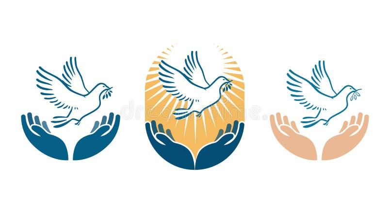Φέρνοντας κλαδί ελιάς πουλιών περιστεριών στο ράμφος ως σύμβολο ειρήνης Διανυσματικό λογότυπο ή εικονίδιο ελεύθερη απεικόνιση δικαιώματος