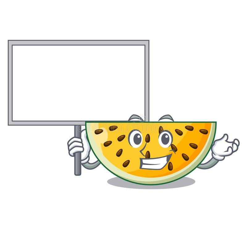 Φέρτε στον πίνακα το φρέσκο κίτρινο καρπούζι στα κινούμενα σχέδια χαρακτήρα ελεύθερη απεικόνιση δικαιώματος