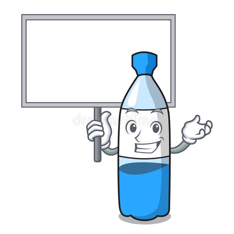 Φέρτε τα κινούμενα σχέδια χαρακτήρα μπουκαλιών νερό πινάκων διανυσματική απεικόνιση