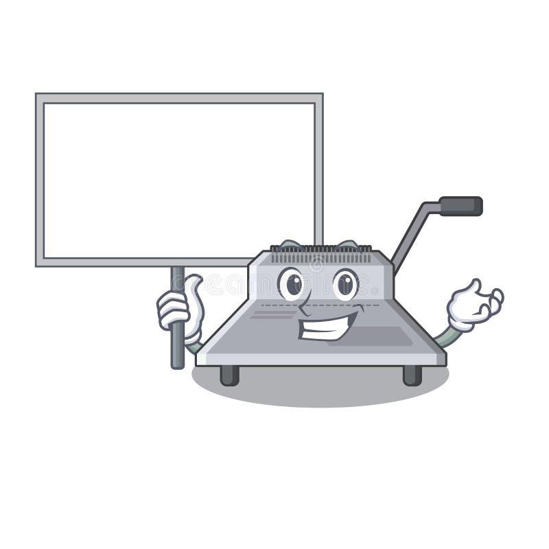 Φέρτε τη δεσμευτική μηχανή πινάκων που απομονώνεται στη μασκότ διανυσματική απεικόνιση