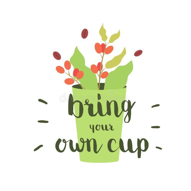 Φέρτε το φλυτζάνι σας Λογότυπο για τον καφέ, εστιατόριο, έμβλημα Διανυσματική απεικόνιση έννοιας απεικόνιση αποθεμάτων