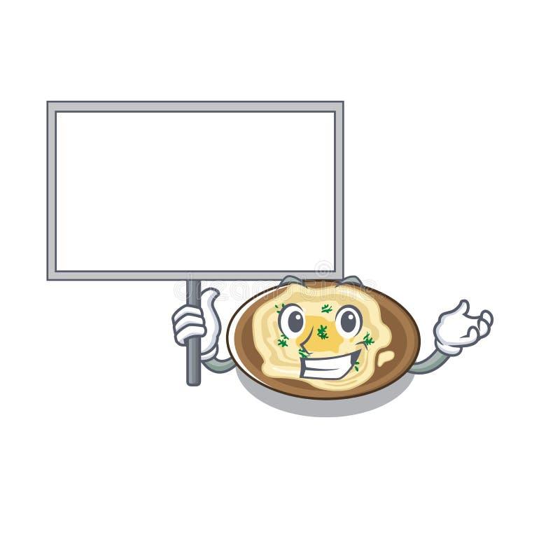 Φέρτε το hummus πινάκων είναι μαγειρευμένος στο τηγάνι μασκότ ελεύθερη απεικόνιση δικαιώματος