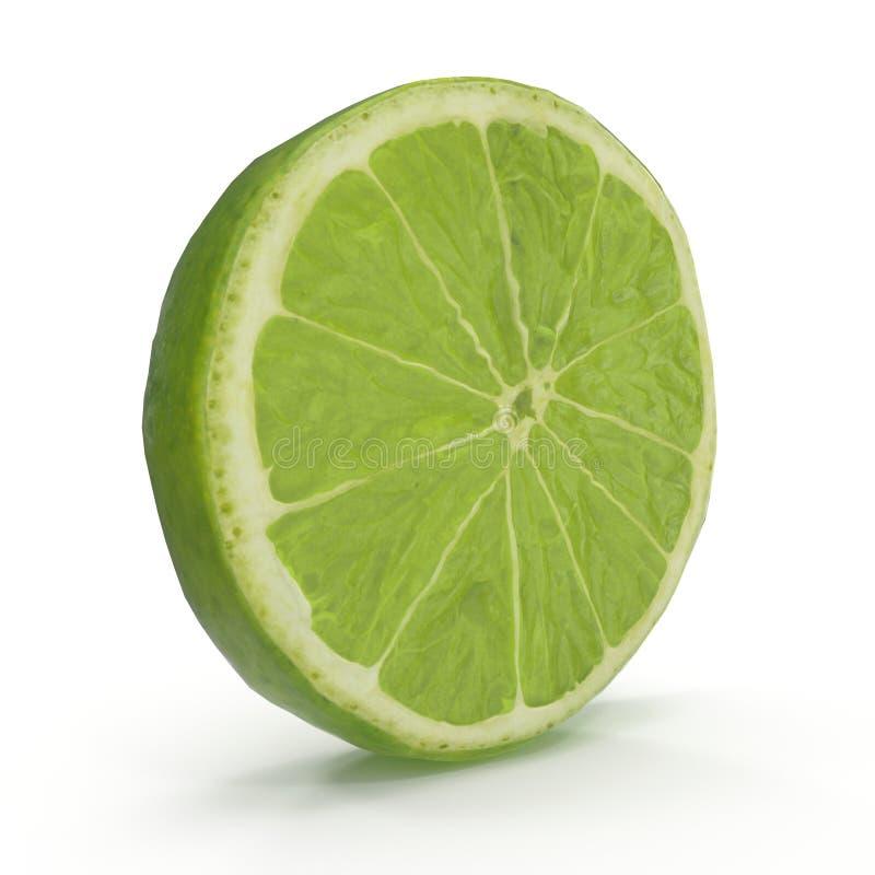 Φέτα ασβέστη που απομονώνεται στην άσπρη τρισδιάστατη απεικόνιση υποβάθρου στοκ εικόνες