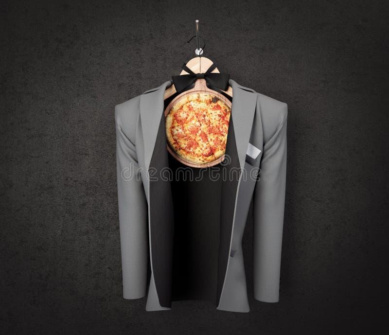 Φέτα πιτσών με το επιχειρησιακό σακάκι στη φωτογραφία έννοιας τοίχων στοκ εικόνες