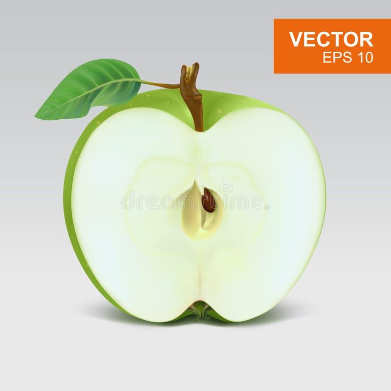 Φέτα της πράσινης ρεαλιστικής τρισδιάστατης απεικόνισης μήλων, στοιχείο σχεδίου απεικόνιση αποθεμάτων