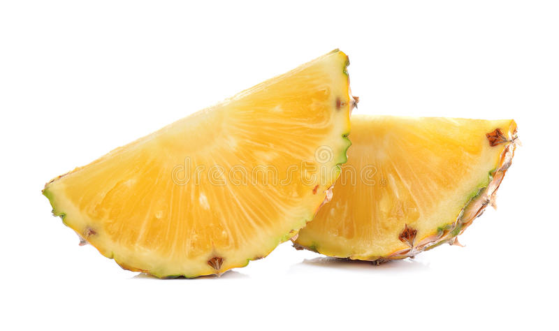 Φέτα του ανανά που απομονώνεται στο λευκό στοκ εικόνα με δικαίωμα ελεύθερης χρήσης