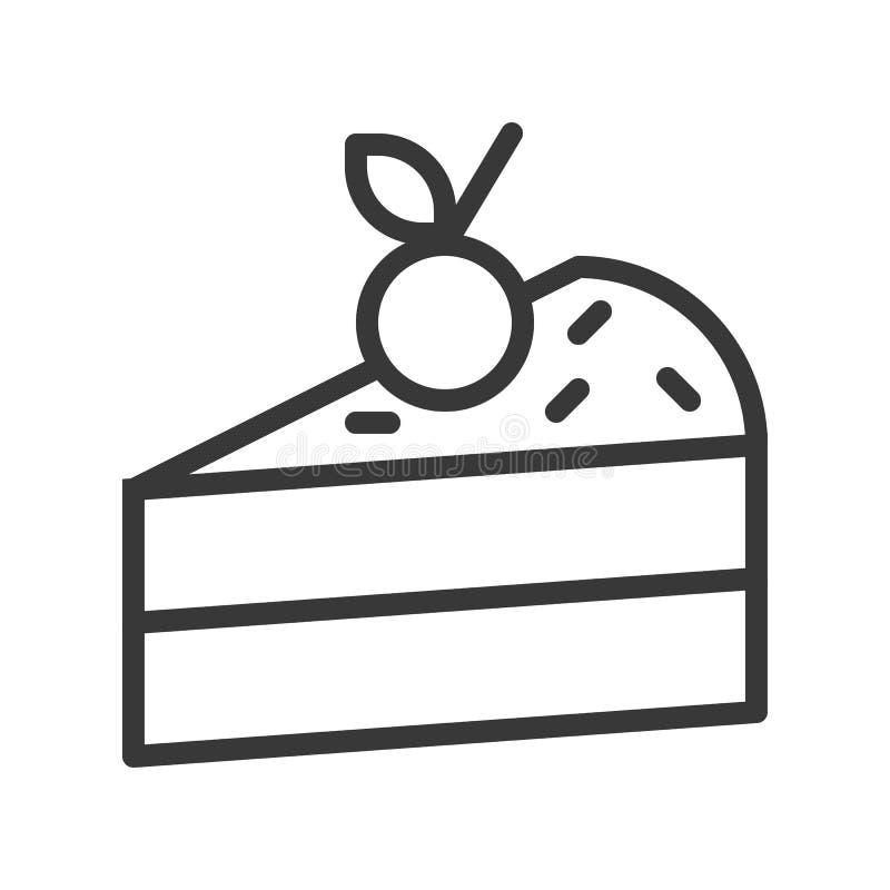 Φέτα του κέικ, των γλυκών και του εικονιδίου περιλήψεων επιδορπίων διανυσματική απεικόνιση