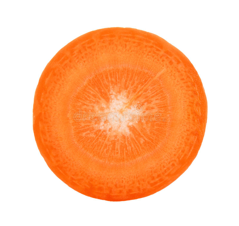 Φέτα του καρότου που απομονώνεται στο άσπρο υπόβαθρο στοκ εικόνα με δικαίωμα ελεύθερης χρήσης