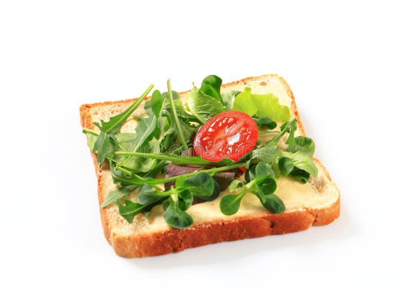Φέτα του ψωμιού με τα φρέσκα πράσινα σαλάτας στοκ φωτογραφίες με δικαίωμα ελεύθερης χρήσης