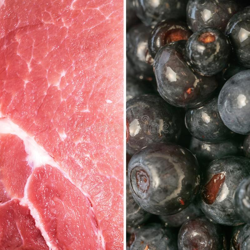 Φέτα χοιρινού κρέατος εναντίον των βακκινίων στοκ φωτογραφία με δικαίωμα ελεύθερης χρήσης