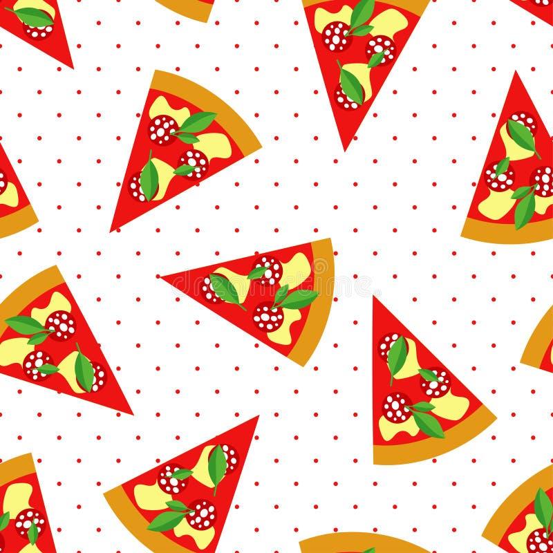 Φέτα Pepperoni του άνευ ραφής σχεδίου πιτσών στο υπόβαθρο σημείων Πόλκα διανυσματική απεικόνιση