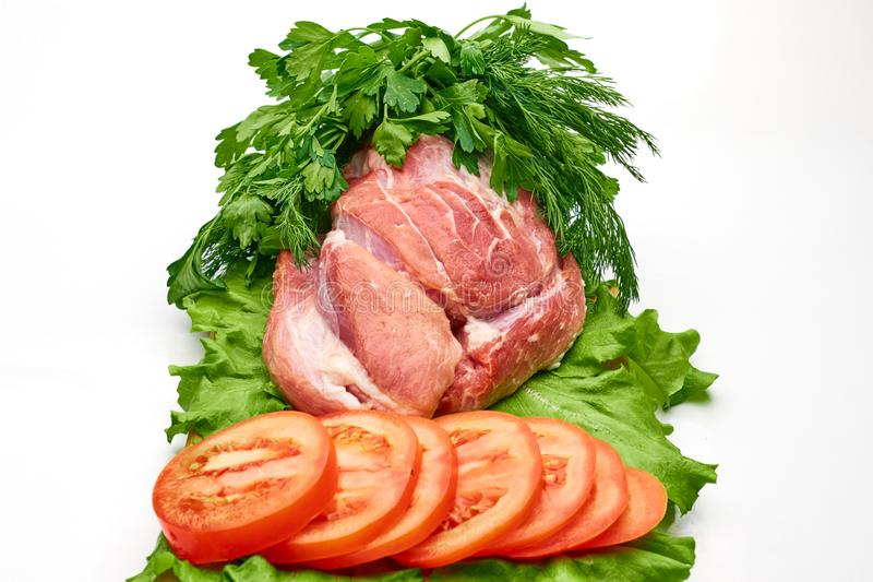 Φέτες του ακατέργαστου κρέατος στοκ εικόνες