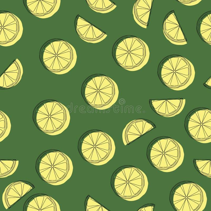Φέτες του λεμονιού στο υπόβαθρο Ταπετσαρία φρούτων Ζωηρόχρωμο άνευ ραφής σχέδιο με τη συλλογή νωπών καρπών στοκ εικόνες