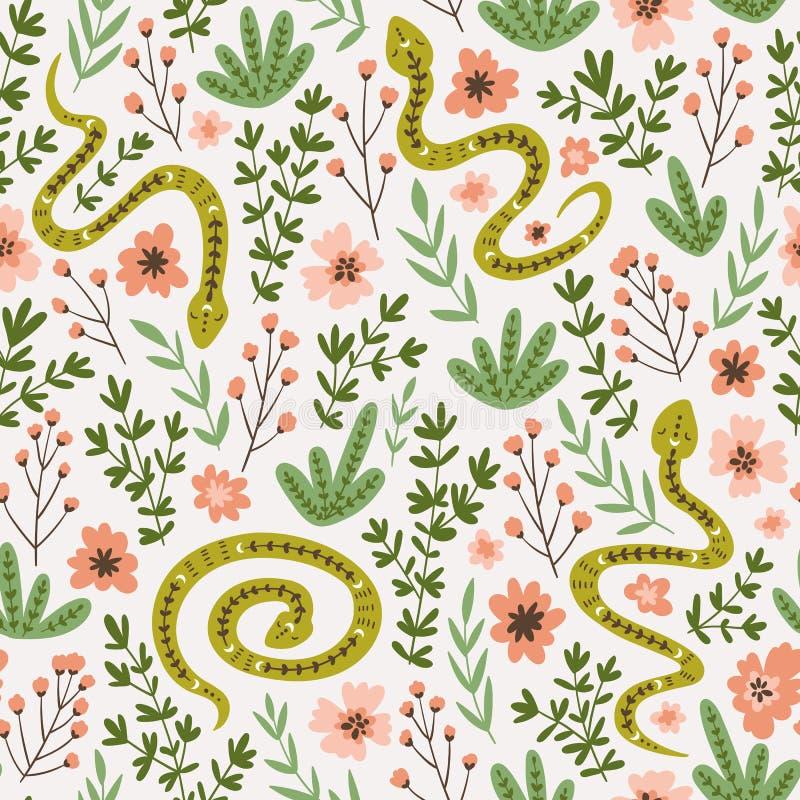 Φίδια και λουλούδια Χαριτωμένο παιδαριώδες σχέδιο υφάσματος Διανυσματικό άνευ ραφής συμένος σχεδίων υπό εξέταση ύφος ανασκόπηση ε διανυσματική απεικόνιση