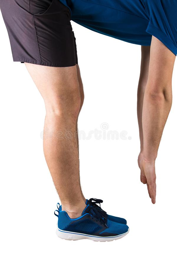 Φίλαθλος αθλητής ατόμων που κάνει θερμαίνοντας τις ασκήσεις και τη γυμναστική πρίν τρέχει Κατάρτιση ικανότητας και τέντωμα μυών π στοκ φωτογραφία με δικαίωμα ελεύθερης χρήσης