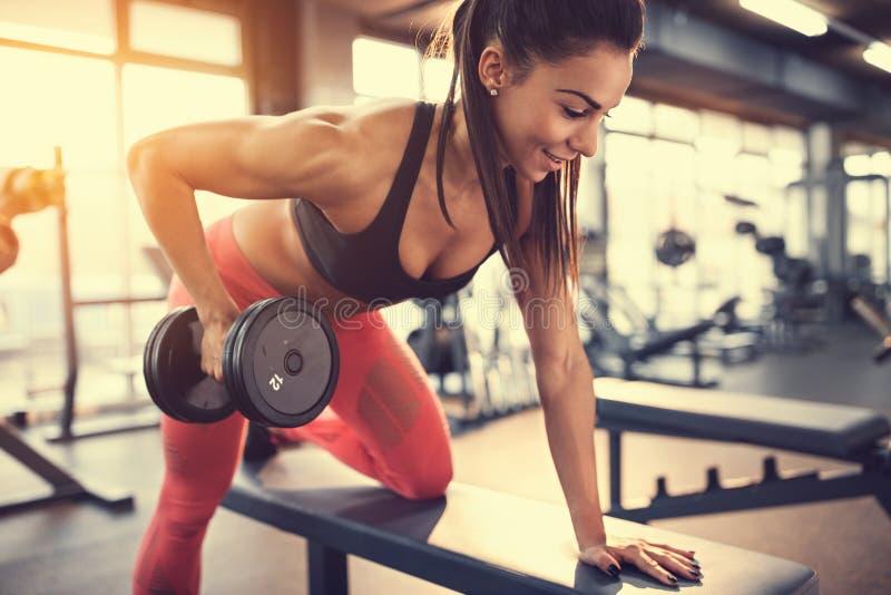 Φίλαθλος στους μυς άσκησης γυμναστικής στοκ εικόνες
