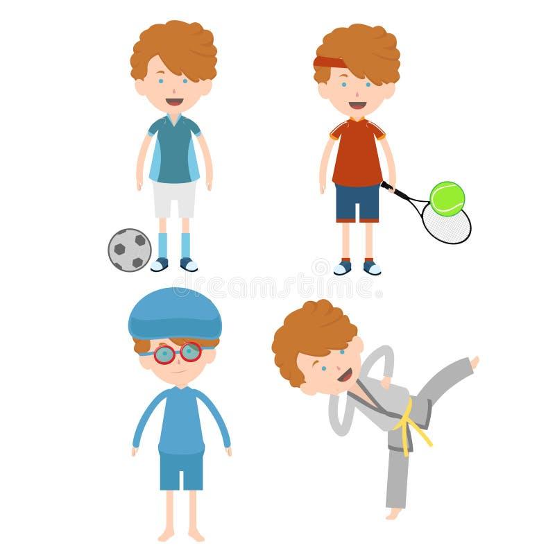 Φίλαθλο ποδόσφαιρο, αντισφαίριση, κολύμβηση, και taekwondo παιδιών παίζοντας διανυσματική απεικόνιση