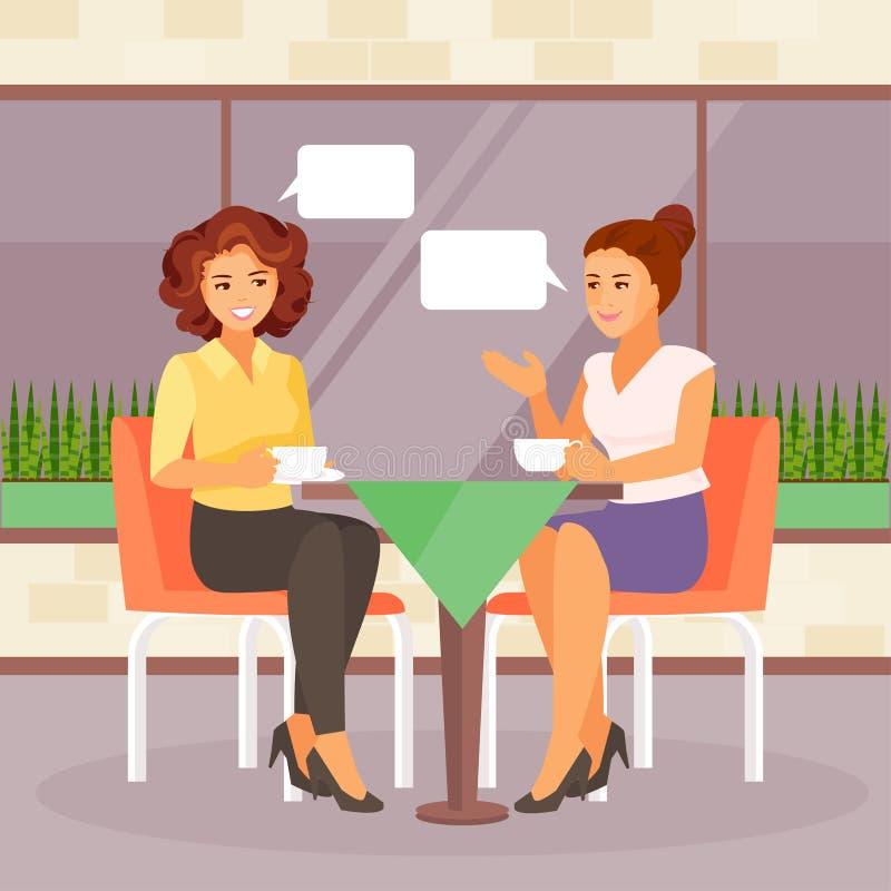 Φίλες σε έναν καφέ απεικόνιση αποθεμάτων