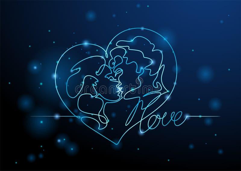 Φίλημα ανδρών και γυναικών εραστών Καρδιά νέου Βαλεντίνος Γραφική παράσταση νέου r ελεύθερη απεικόνιση δικαιώματος