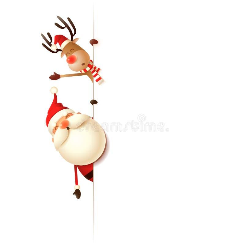 Φίλοι Άγιος Βασίλης Χριστουγέννων και τάρανδος στην αριστερή πλευρά του πίνακα - που απομονώνεται στο άσπρο υπόβαθρο απεικόνιση αποθεμάτων