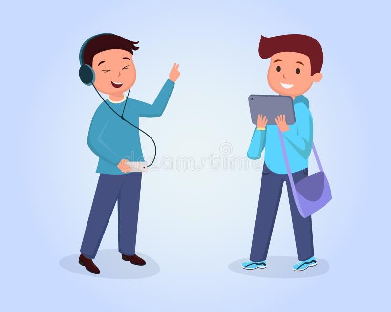 Φίλοι εφήβων που συναντούν την επίπεδη διανυσματική απεικόνιση Μαθητής που φορά τα ακουστικά, μουσική ακούσματος, schoolkid με τη διανυσματική απεικόνιση
