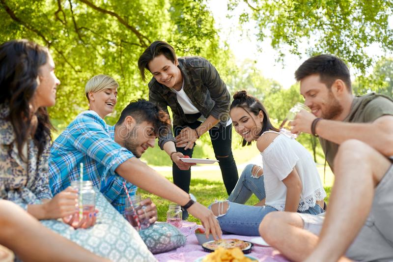Φίλοι με τα ποτά και τρόφιμα στο πικ-νίκ στο πάρκο στοκ εικόνα