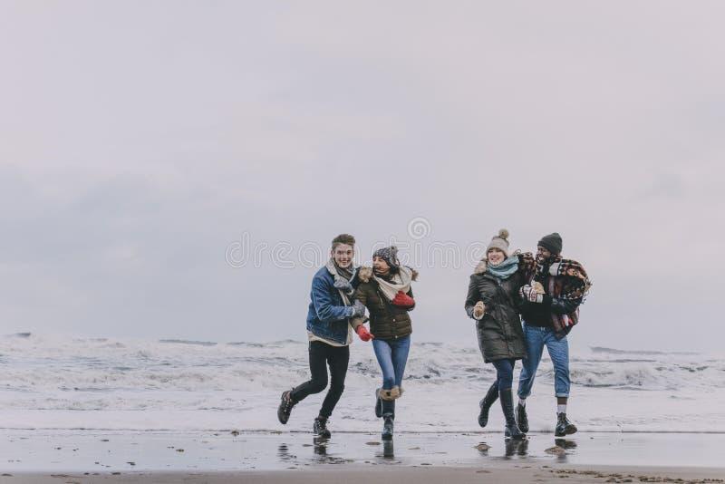 Φίλοι που έχουν τη διασκέδαση σε μια χειμερινή παραλία στοκ φωτογραφίες με δικαίωμα ελεύθερης χρήσης