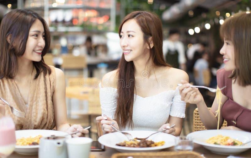 φίλοι που έχουν το γεύμα στο εστιατόριο στοκ φωτογραφίες με δικαίωμα ελεύθερης χρήσης