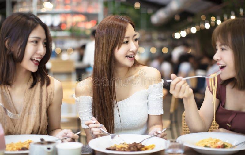 φίλοι που έχουν το γεύμα στο εστιατόριο στοκ εικόνα με δικαίωμα ελεύθερης χρήσης
