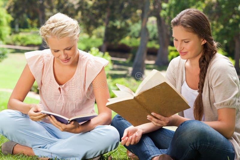 Φίλοι που διαβάζουν τα βιβλία στοκ εικόνες με δικαίωμα ελεύθερης χρήσης